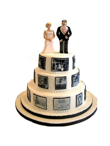 Black and white photograph wedding cake