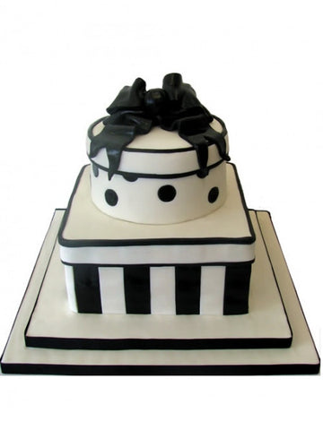 Black & White Hatt Box shaped Wedding Cake