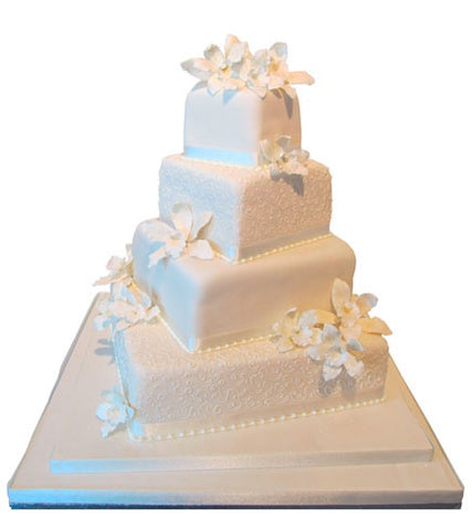 Filigree and White Wedding Cake