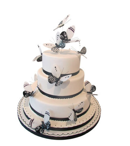 Stylish Butterflies adorned Wedding Cake