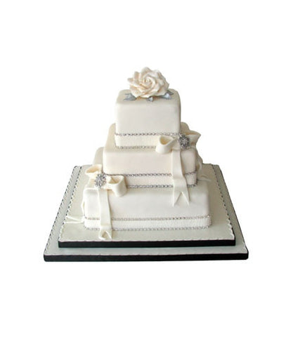 Vintage Diamantes and Bows Wedding Cake