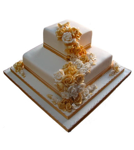 Gold & Ivory Roses Wedding Cake