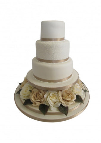 Gold and Cream Roses Wedding cake