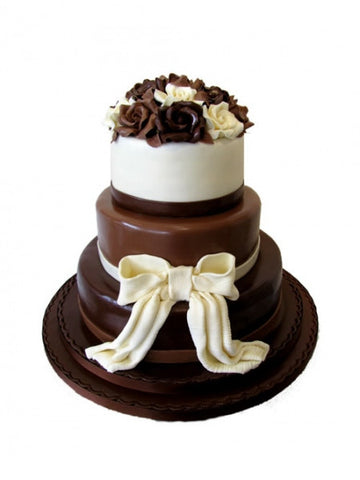 Chocolate Roses and Bow Wedding Cake