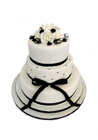A black and white themed wedding cake