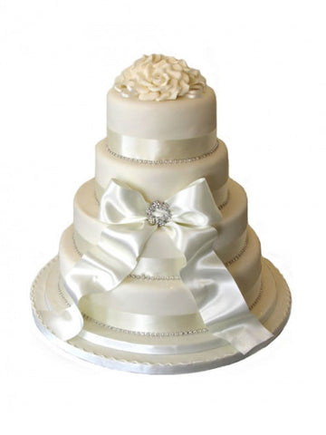 A Diamante & Ribbon wedding cake