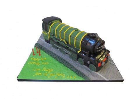 Steam Train Shaped Cake