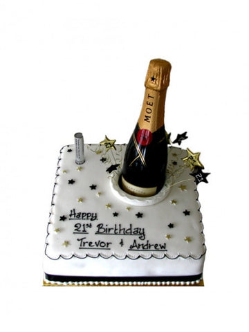 Birthday Cake with Champagne Bottle