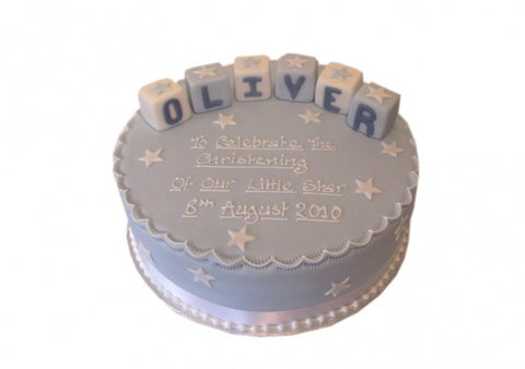 Blue Letter Blocks Christening Cake