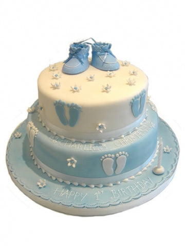 Booties & Footprints Christening Cake - Blue