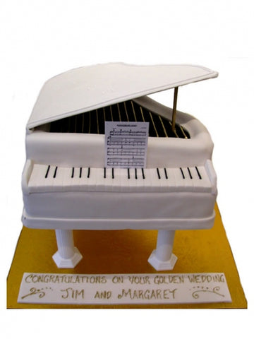 Golden Wedding Cake with White Grand Piano