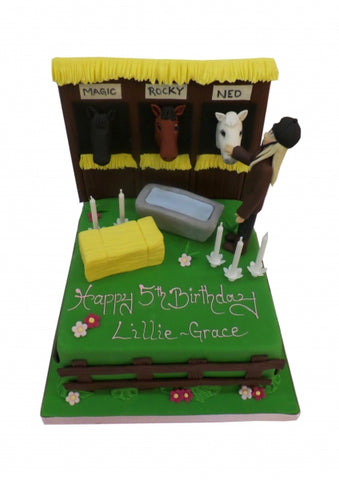 Horse Stable Scene Birthday Cake