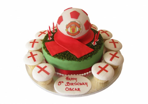 Manchester United Football Cake & Cupcakes