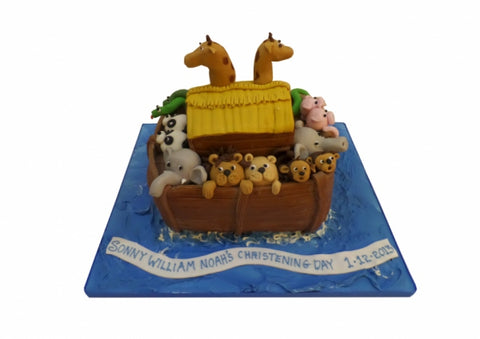 Noah's Ark Shaped Christening Cake