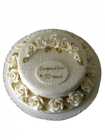 Traditional Roses Golden Wedding Cake