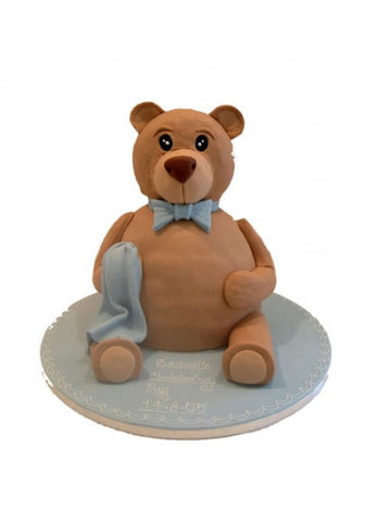 Upright Teddy Bear Shaped Christening Cake