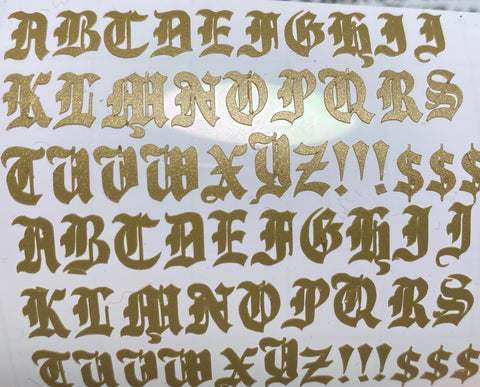 Gold Old English Letters Small