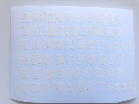 White Old English Letters