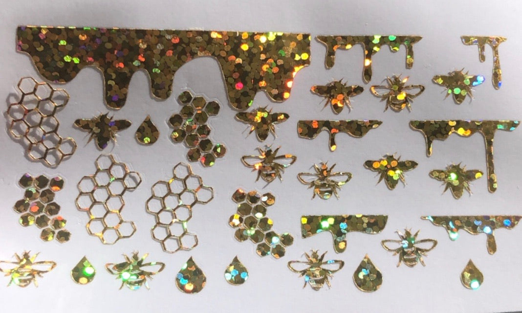 Gold holographic Honey Bee decals