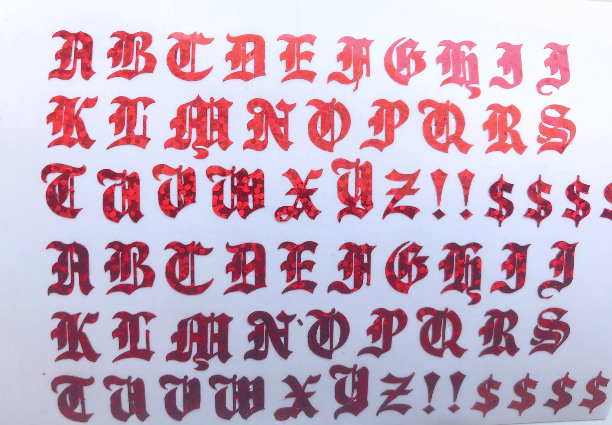 Red Old English Letters