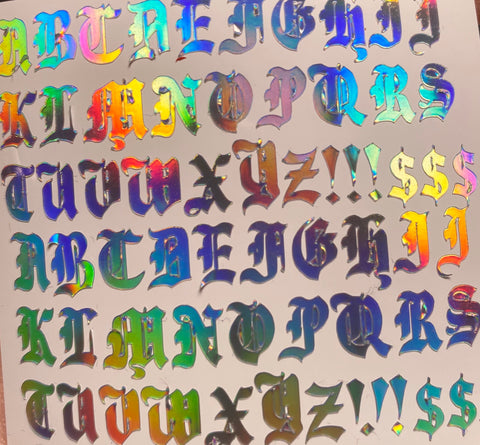 Holographic Old English Letters Small