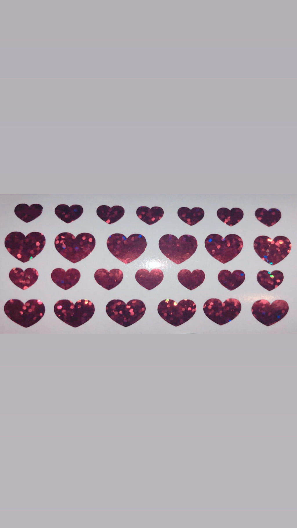 Valentines Holographic red glitter hearts