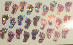 Pink holographic glitter baby feet