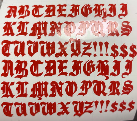 Red Old English Letters Small