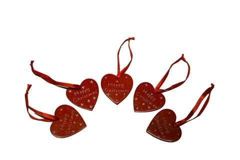 Happy Christmas Hanging Hearts 5cm