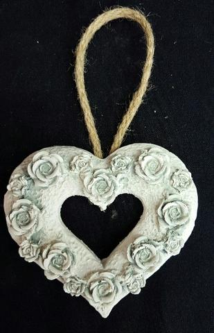 Rose Cut Out Heart - Duck Egg