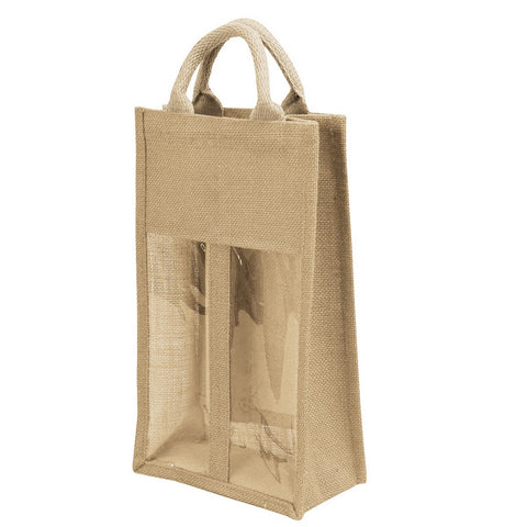 Jute Bag - 2 bottle with window