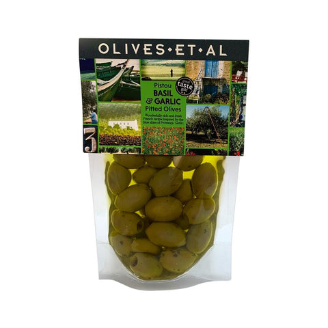 Pouch - Pitted Pistou Basil & Garlic Olives 240g