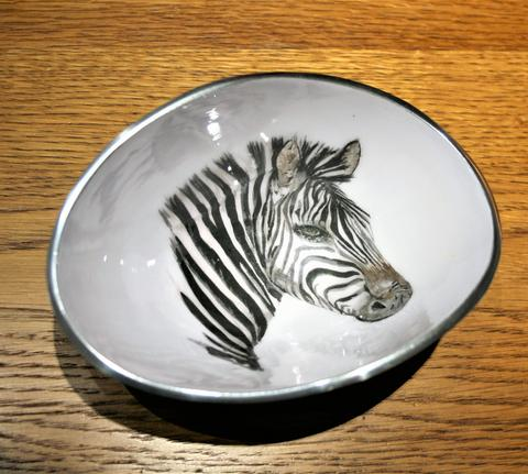 Zebra Oval Bowl