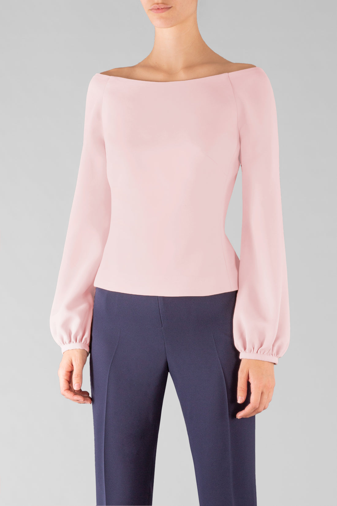 LIGHT PINK CREPE SLEEVE TOP