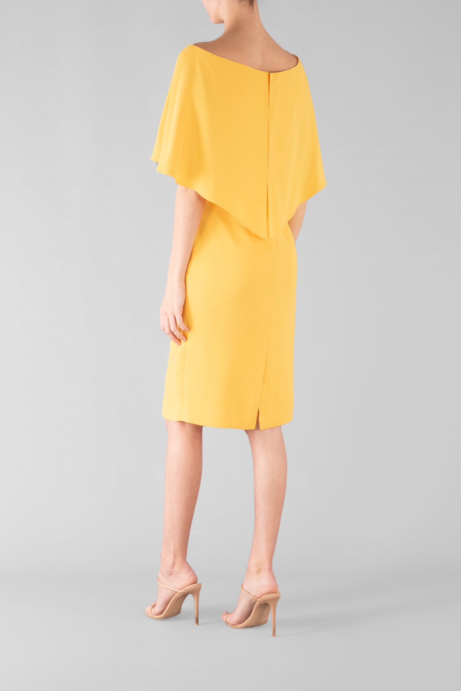 YELLOW CREPE CAPE DRESS