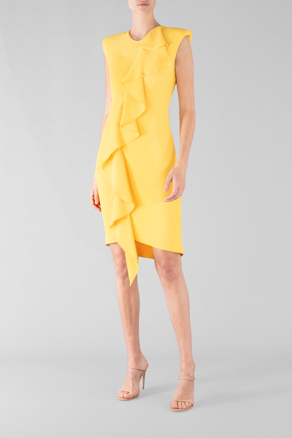 YELLOW CREPE FRILL FRONT DRESS