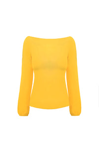 YELLOW CREPE SLEEVE TOP
