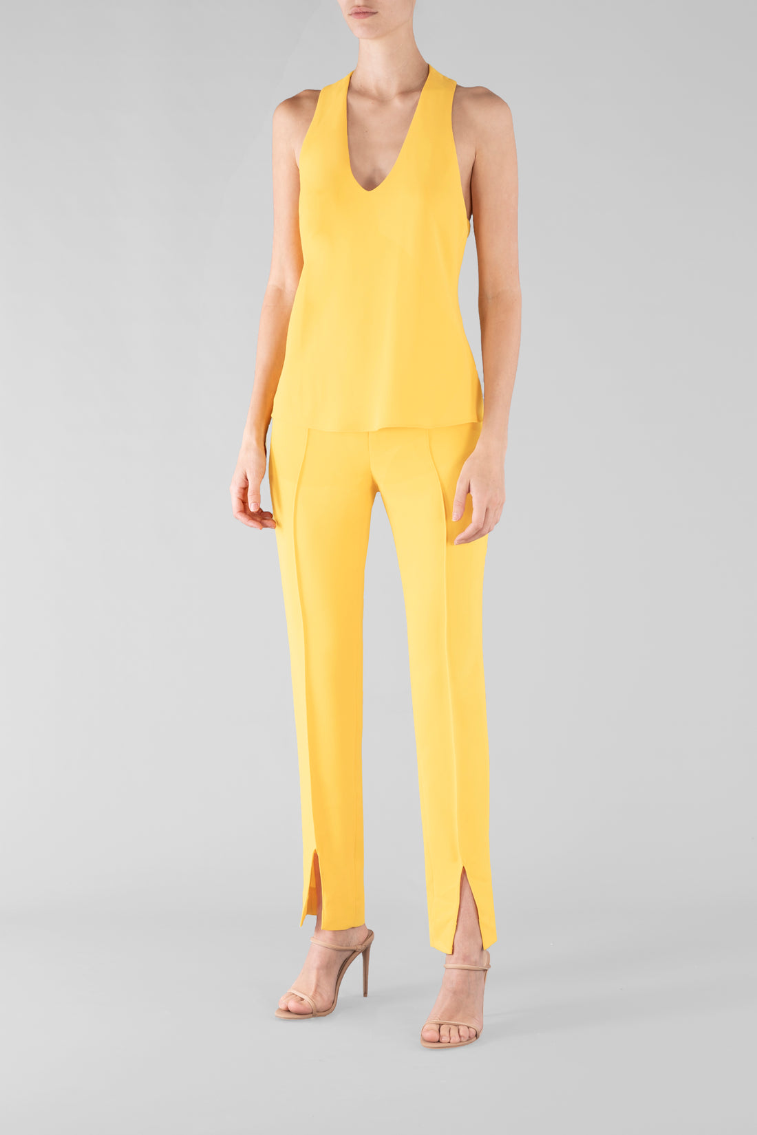 YELLOW CREPE SHELL TOP