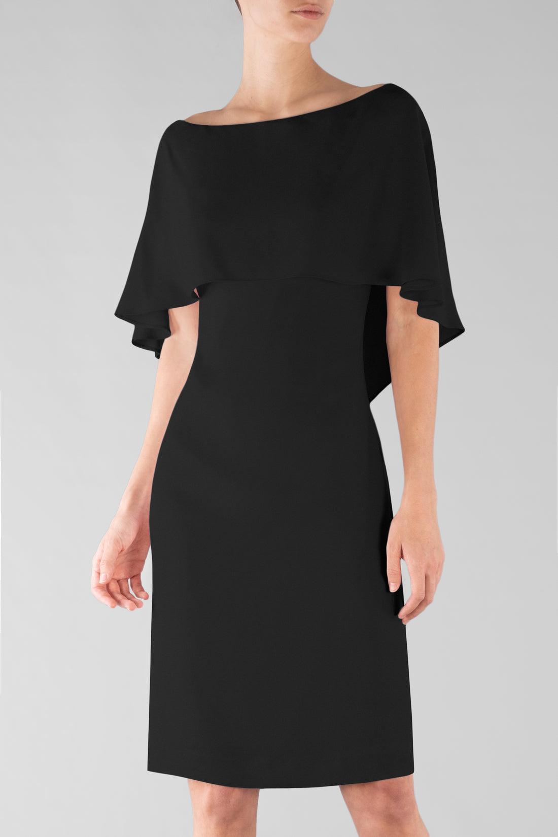 BLACK CREPE CAPE DRESS