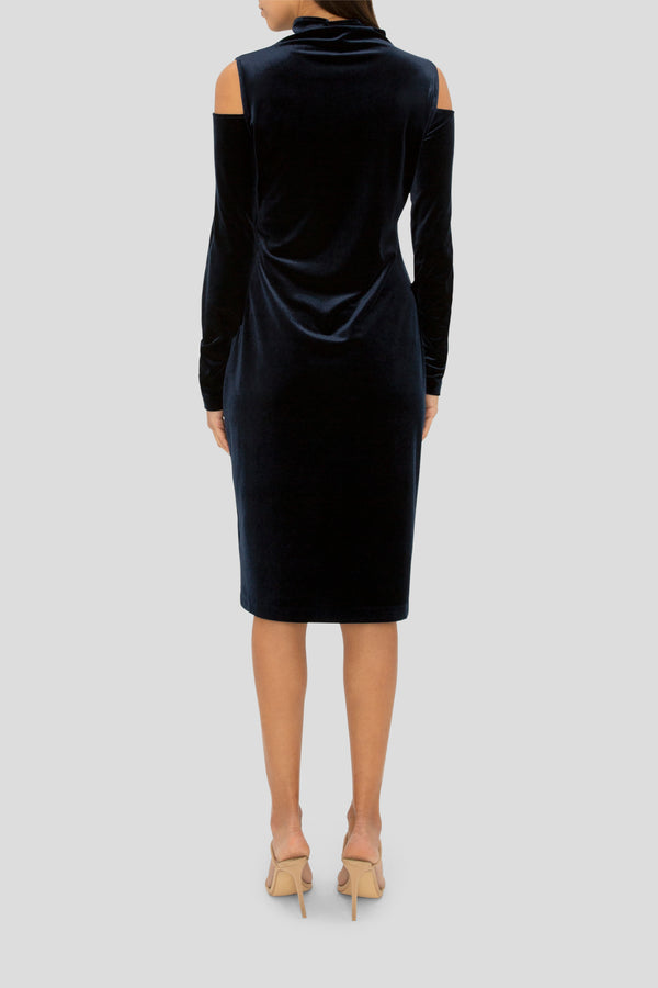 NAVY VELVET COLD SHOULDER POLO DRESS
