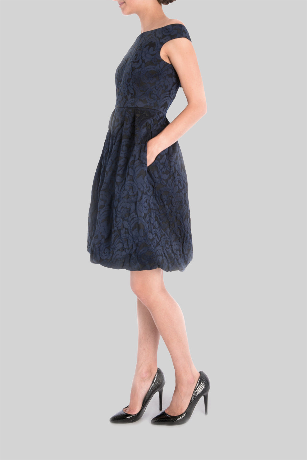 NAVY BROCADE OFF SHOULDER DRESS