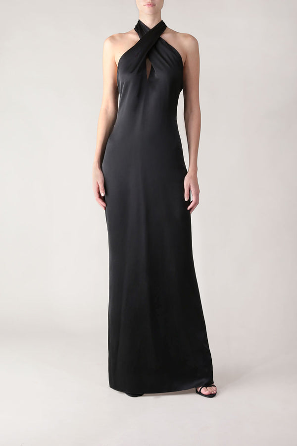 THE SEDUCTRESS GOWN BLACK SATIN