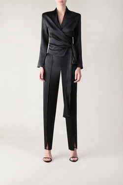BLACK SATIN SENSUOUS & SLIM PANT