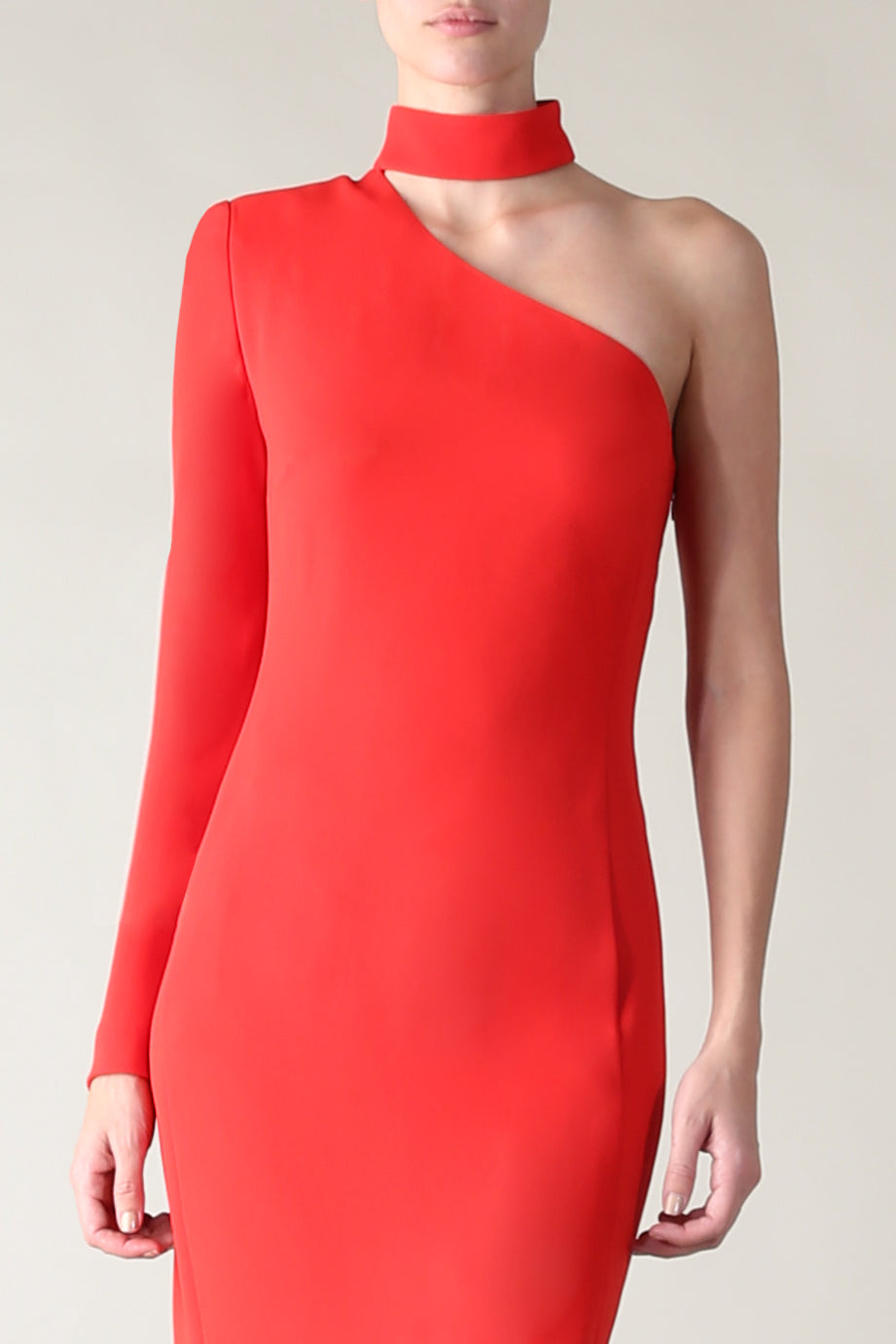 DEMURE AND DARING DRESS RED CREPE
