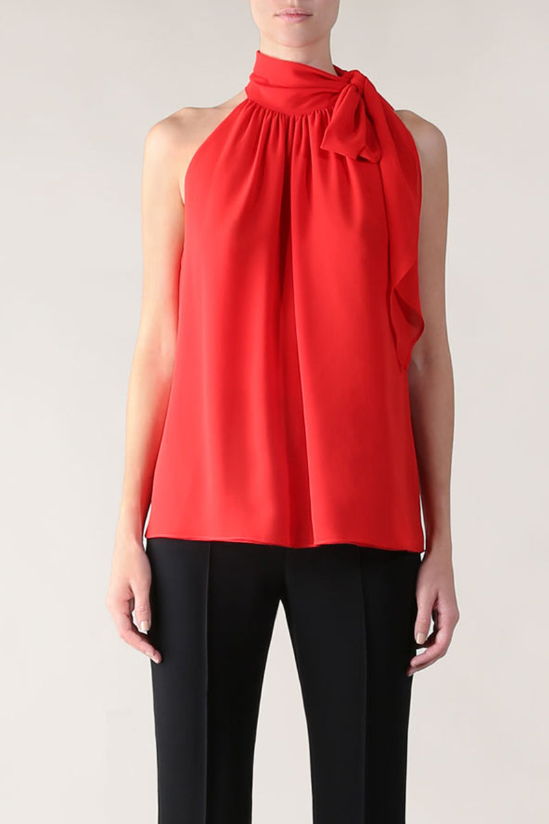 RUBY GEORGETTE BOWED BEAUTY TOP