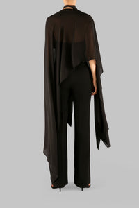 BLACK GEORGETTE GATSBY COVER UP