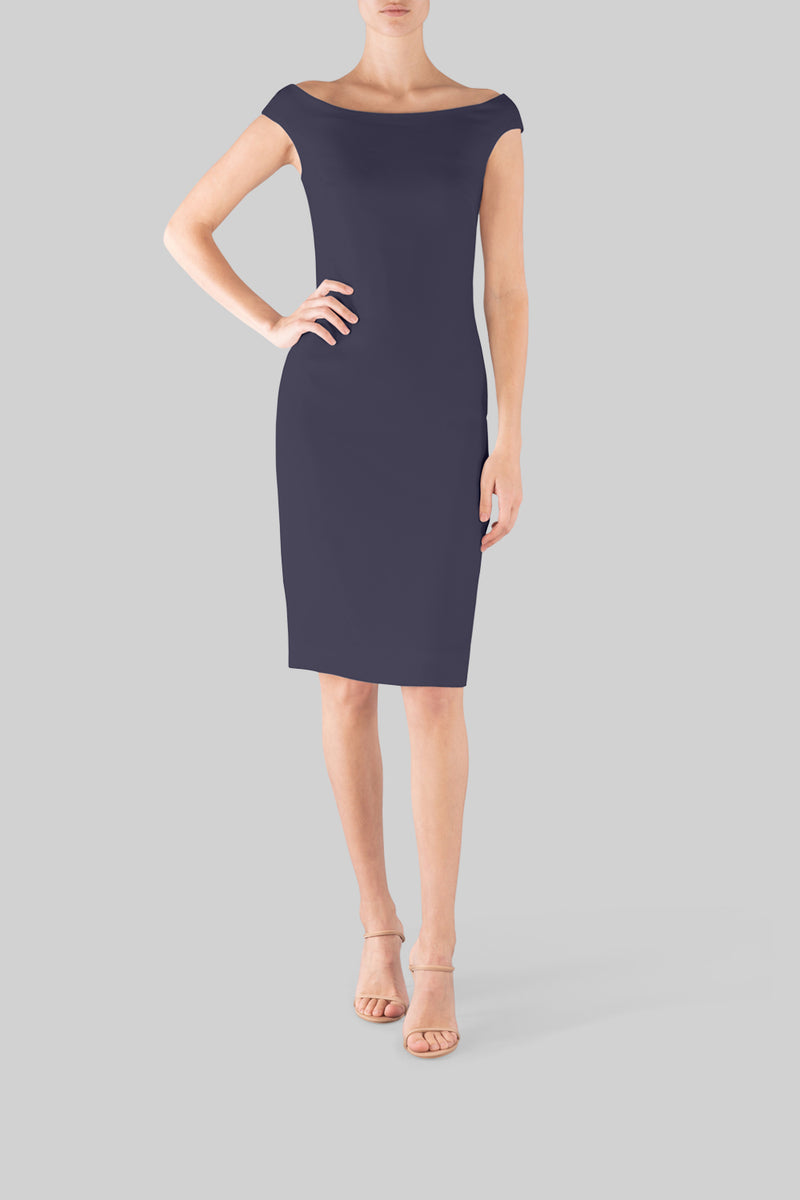 NAVY CREPE OFF SHOULDER DRESS