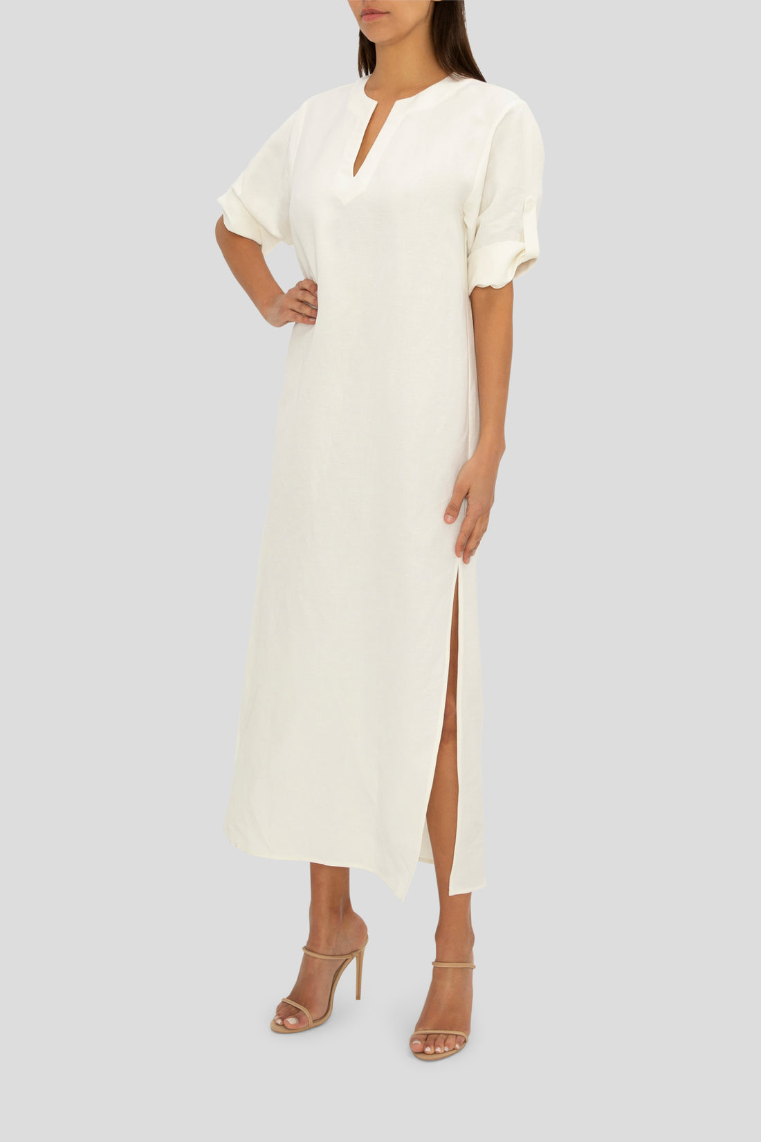 WHITE LINEN SUMMER HOLIDAY DRESS