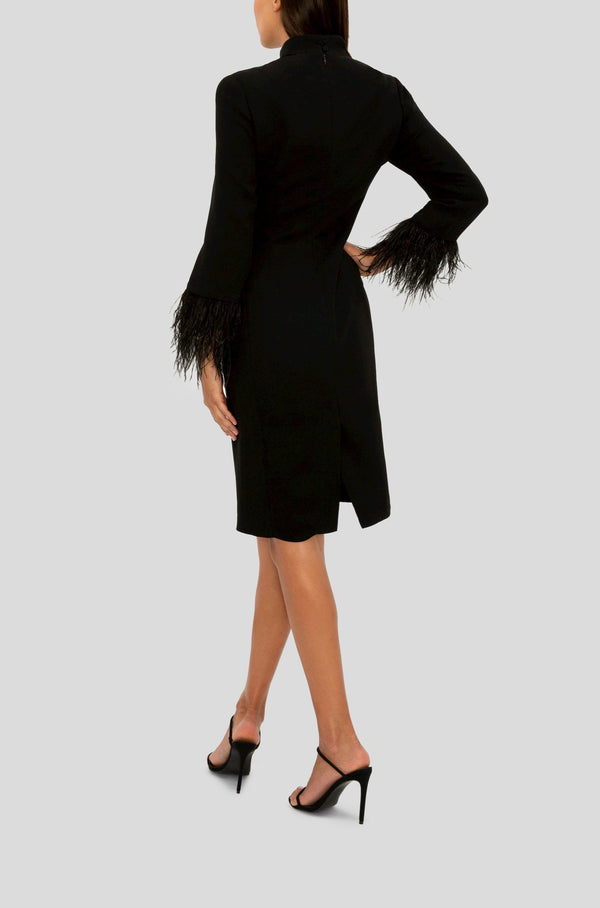 BLACK FEATHER TRIM COCKTAIL DRESS