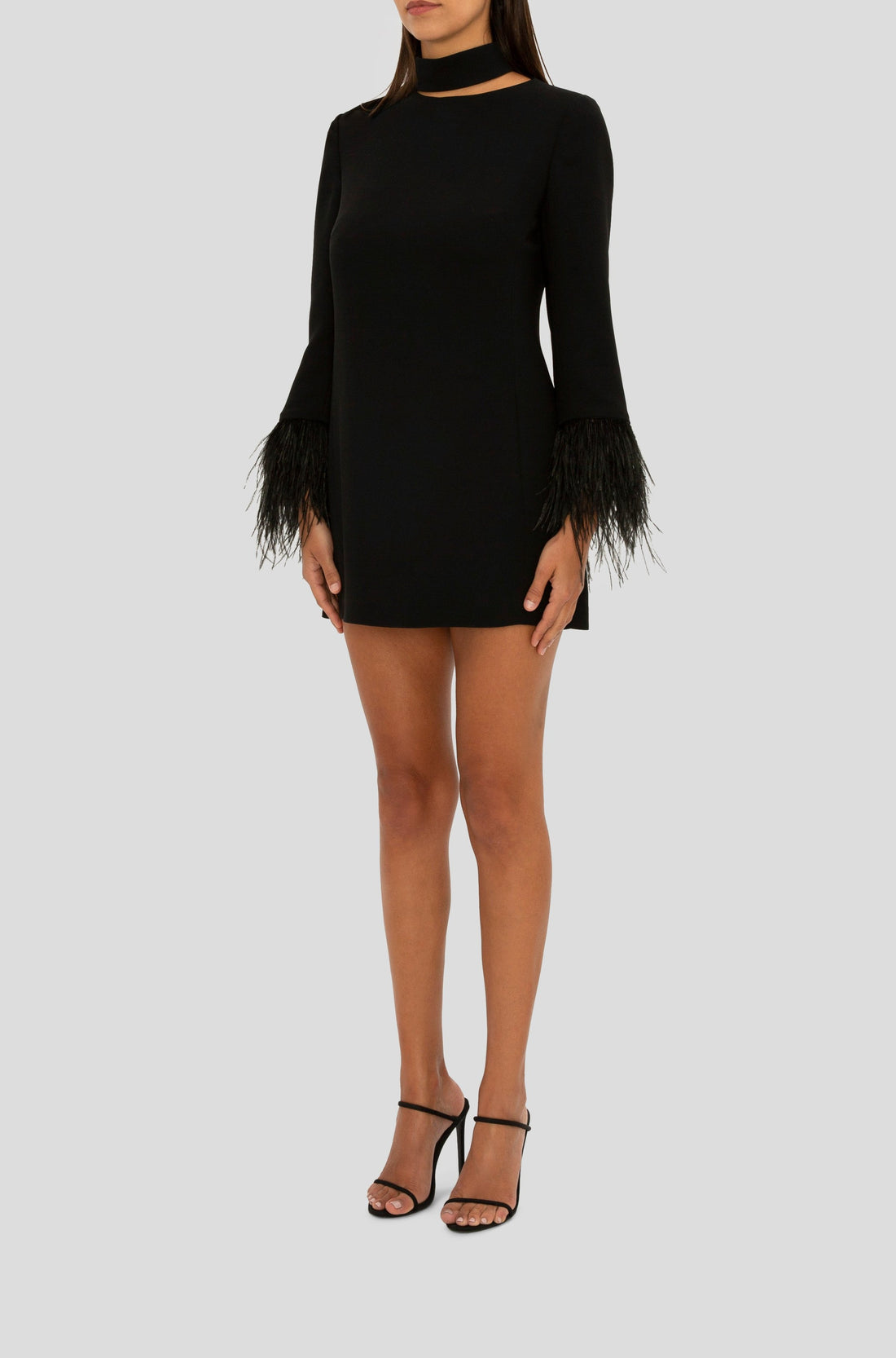 BLACK FEATHER TRIM MINI DRESS